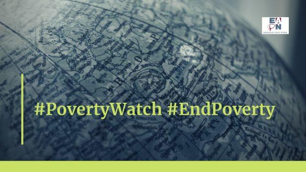 Kartta, jonka päälle upotettu teksti #PovertyWatch #EndPoverty